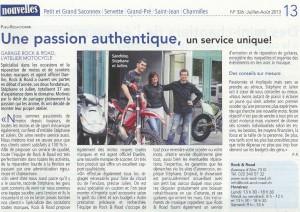 Article de journal Rock and Road Genève juin 2013
